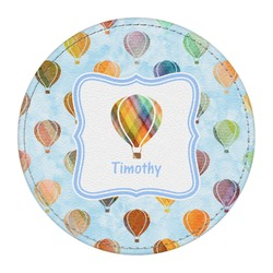 Watercolor Hot Air Balloons Round Desk Weight - Genuine Leather  (Personalized)