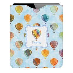 Watercolor Hot Air Balloons Genuine Leather iPad Sleeve (Personalized)