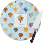 Watercolor Hot Air Balloons Round Glass Cutting Board (Personalized)