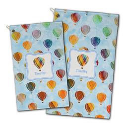 Watercolor Hot Air Balloons Golf Towel - Full Print w/ Name or Text