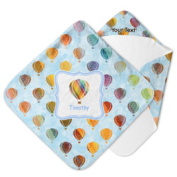 Watercolor Hot Air Balloons Hooded Baby Towel (Personalized)
