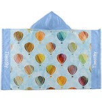 Watercolor Hot Air Balloons Kids Hooded Towel (Personalized)