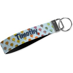 Watercolor Hot Air Balloons Wristlet Webbing Keychain Fob (Personalized)