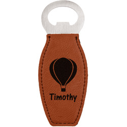 Watercolor Hot Air Balloons Leatherette Bottle Opener (Personalized)