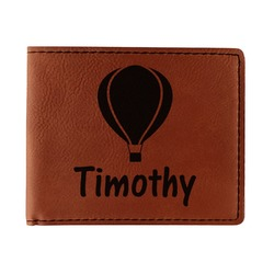 Watercolor Hot Air Balloons Leatherette Bifold Wallet (Personalized)
