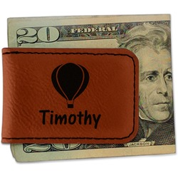 Watercolor Hot Air Balloons Leatherette Magnetic Money Clip (Personalized)