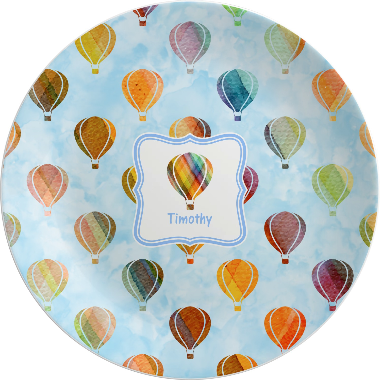 Watercolor Hot Air Balloons Melamine Plate (Personalized)  sc 1 st  YouCustomizeIt & Watercolor Hot Air Balloons Melamine Plate (Personalized ...