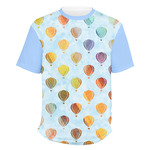 Watercolor Hot Air Balloons Men's Crew T-Shirt (Personalized)