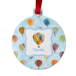 Watercolor Hot Air Balloons Metal Ornaments - Double Sided w/ Name or Text