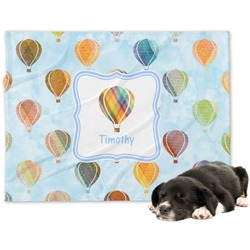 Watercolor Hot Air Balloons Minky Dog Blanket (Personalized)