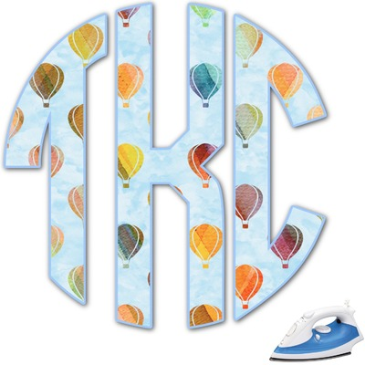 Watercolor Hot Air Balloons Monogram Iron On Transfer (Personalized)