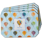 Watercolor Hot Air Balloons Dining Table Mat - Octagon w/ Name or Text