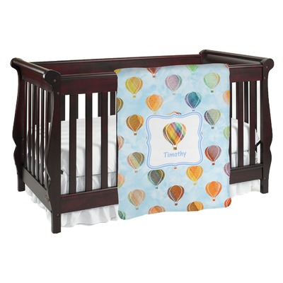 Watercolor Hot Air Balloons Baby Blanket (Personalized)