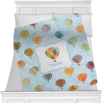 Watercolor Hot Air Balloons Minky Blanket (Personalized)