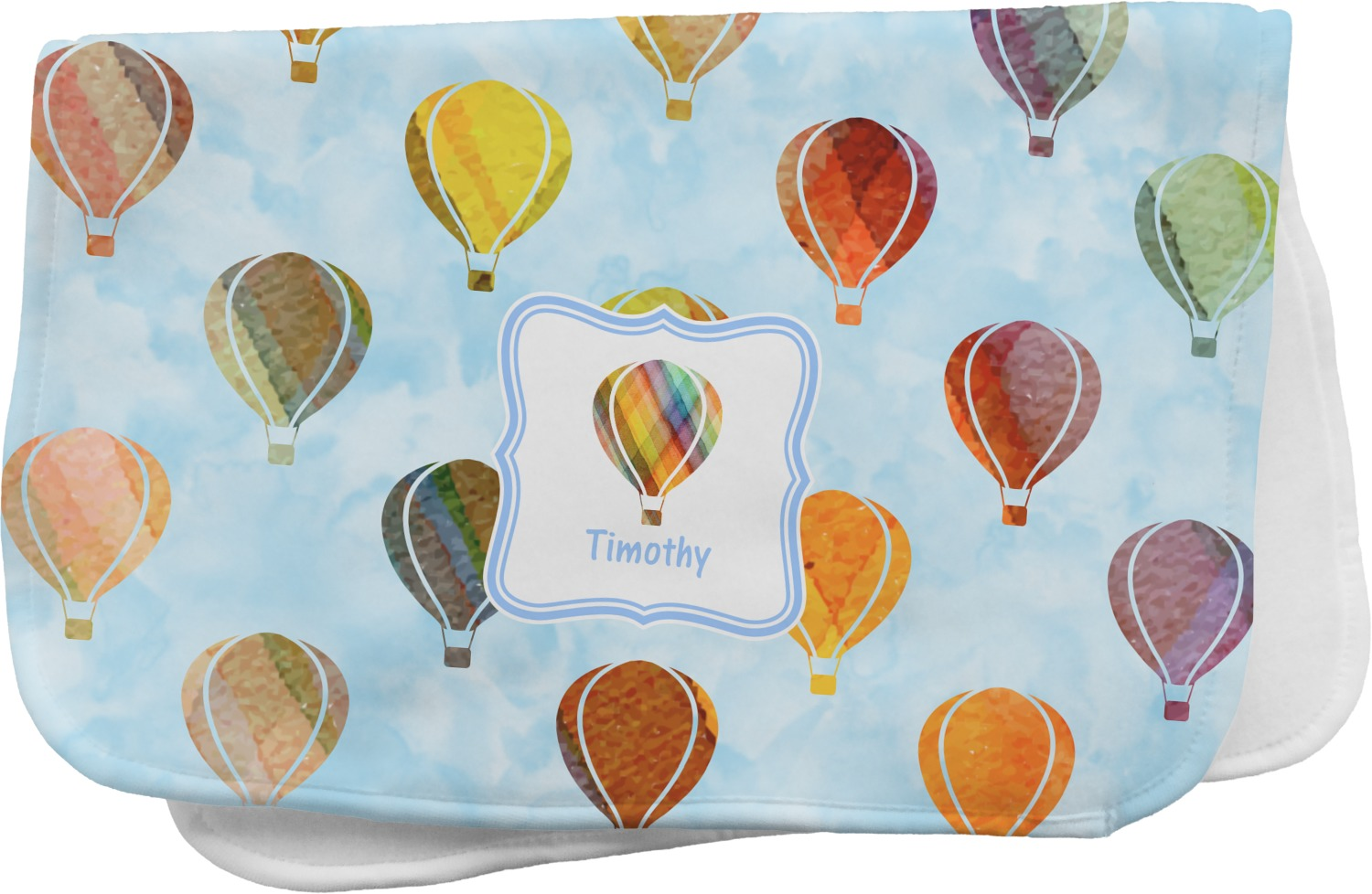Watercolor Hot Air Balloons Burp Cloth Personalized