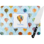 Watercolor Hot Air Balloons Rectangular Glass Cutting Board (Personalized)