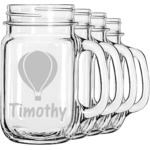 Watercolor Hot Air Balloons Mason Jar Mugs (Set of 4) (Personalized)