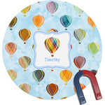 Watercolor Hot Air Balloons Round Magnet (Personalized)