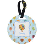 Watercolor Hot Air Balloons Plastic Luggage Tag - Round (Personalized)