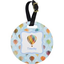 Watercolor Hot Air Balloons Round Luggage Tag (Personalized)
