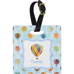 Watercolor Hot Air Balloons Square Luggage Tag (Personalized)
