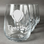 Watercolor Hot Air Balloons Stemless Wine Glasses (Set of 4) (Personalized)