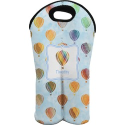 Watercolor Hot Air Balloons Wine Tote Bag (2 Bottles) (Personalized)