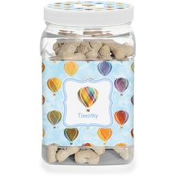 Watercolor Hot Air Balloons Pet Treat Jar (Personalized)