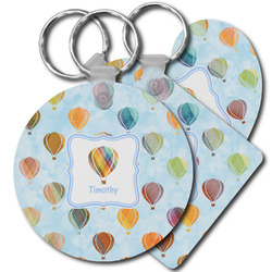 Watercolor Hot Air Balloons Plastic Keychains (Personalized)