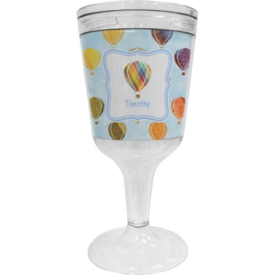 Watercolor Hot Air Balloons Wine Tumbler - 11 oz Plastic (Personalized)