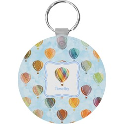 Watercolor Hot Air Balloons Round Plastic Keychain (Personalized)