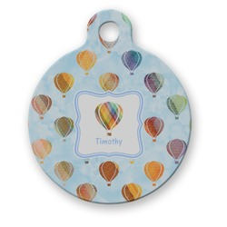 Watercolor Hot Air Balloons Round Pet Tag (Personalized)