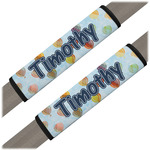 Watercolor Hot Air Balloons Seat Belt Covers (Set of 2) (Personalized)