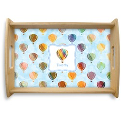Watercolor Hot Air Balloons Natural Wooden Tray (Personalized)