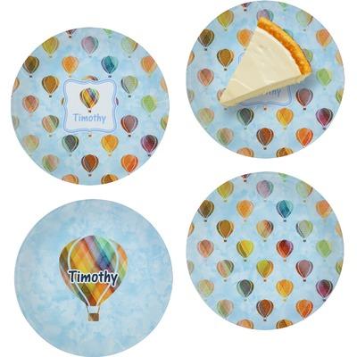 Watercolor Hot Air Balloons Set of 4 Glass Appetizer / Dessert Plate 8
