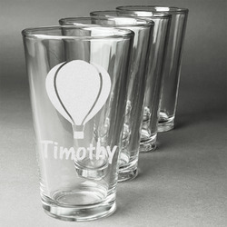 Watercolor Hot Air Balloons Beer Glasses (Set of 4) (Personalized)