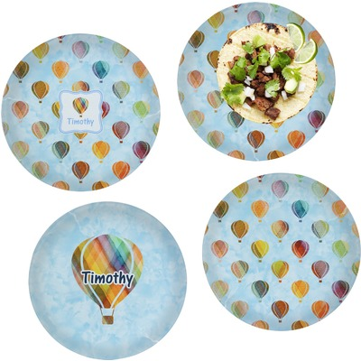 Watercolor Hot Air Balloons Set of 4 Glass Lunch / Dinner Plate 10