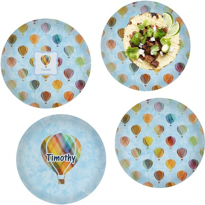"""Watercolor Hot Air Balloons Set of 4 Glass Lunch / Dinner Plate 10"""" (Personalized)"""