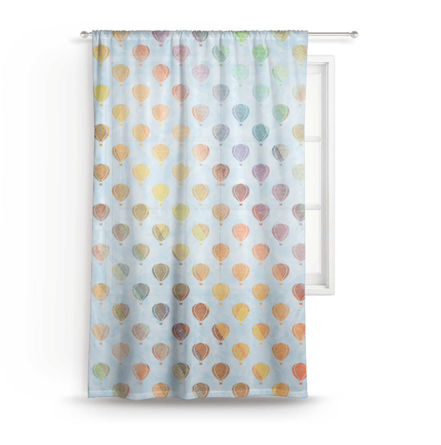 Watercolor Hot Air Balloons Sheer Curtains Personalized