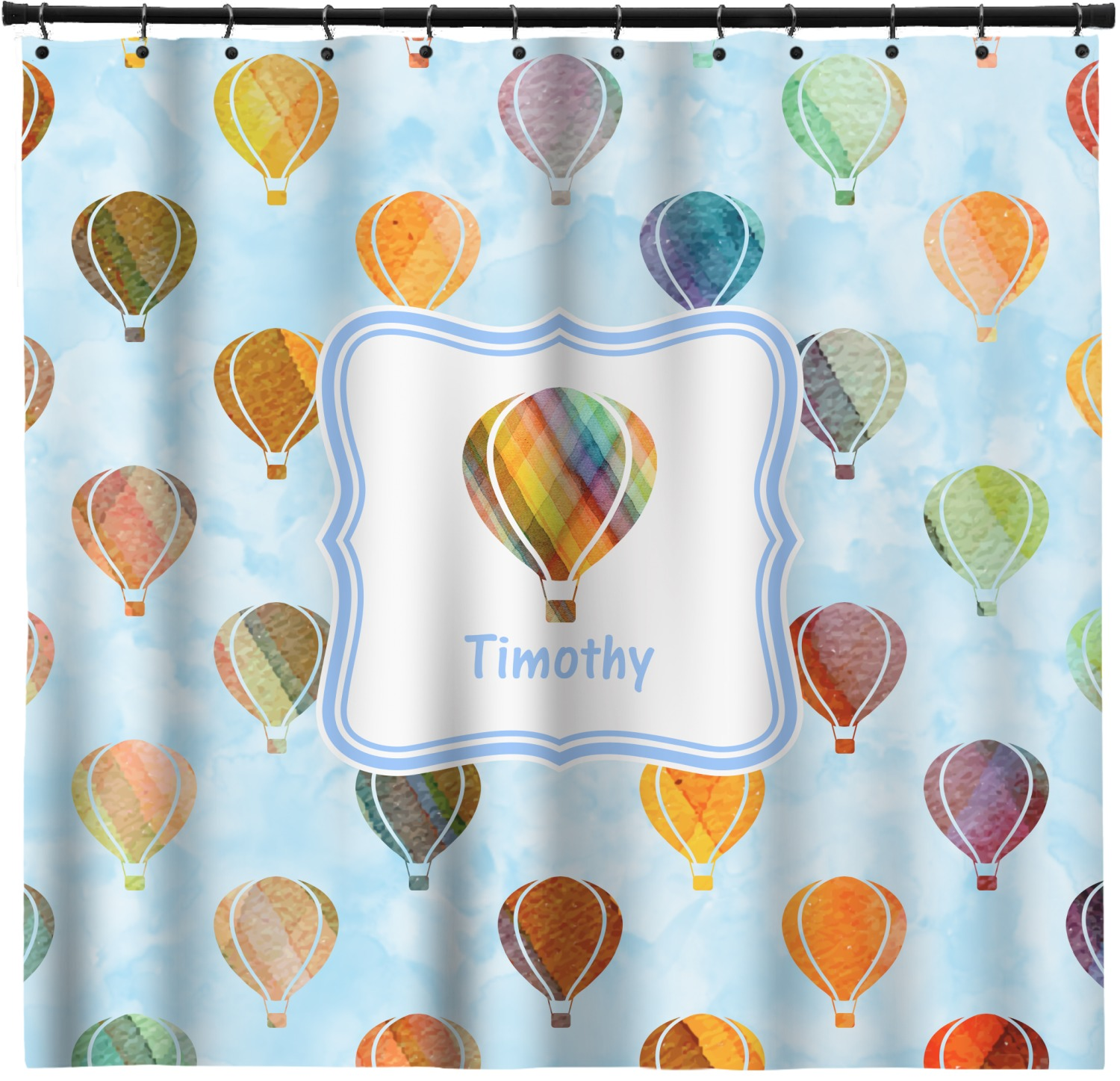 Watercolor Hot Air Balloons Shower Curtain Personalized