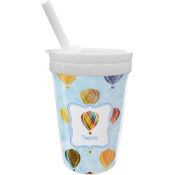 Watercolor Hot Air Balloons Sippy Cup with Straw (Personalized)