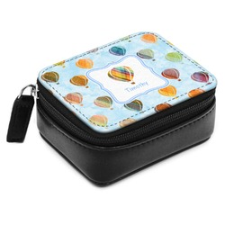 Watercolor Hot Air Balloons Small Leatherette Travel Pill Case (Personalized)