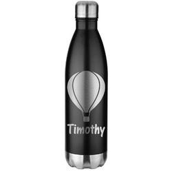 Watercolor Hot Air Balloons Black Water Bottle - 26 oz. Stainless Steel  (Personalized)