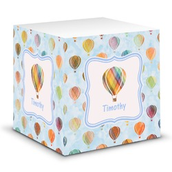 Watercolor Hot Air Balloons Sticky Note Cube (Personalized)