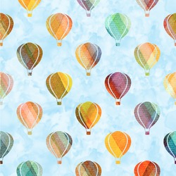 Watercolor Hot Air Balloons Wallpaper & Surface Covering