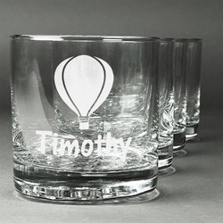 Watercolor Hot Air Balloons Whiskey Glasses (Set of 4) (Personalized)