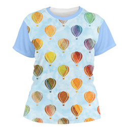 Watercolor Hot Air Balloons Women's Crew T-Shirt (Personalized)