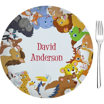 """Animals 8"""" Glass Appetizer / Dessert Plates - Single or Set (Personalized)"""
