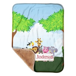 """Animals Sherpa Baby Blanket 30"""" x 40"""" (Personalized)"""