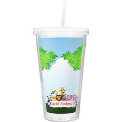 Animals Double Wall Tumbler with Straw (Personalized)